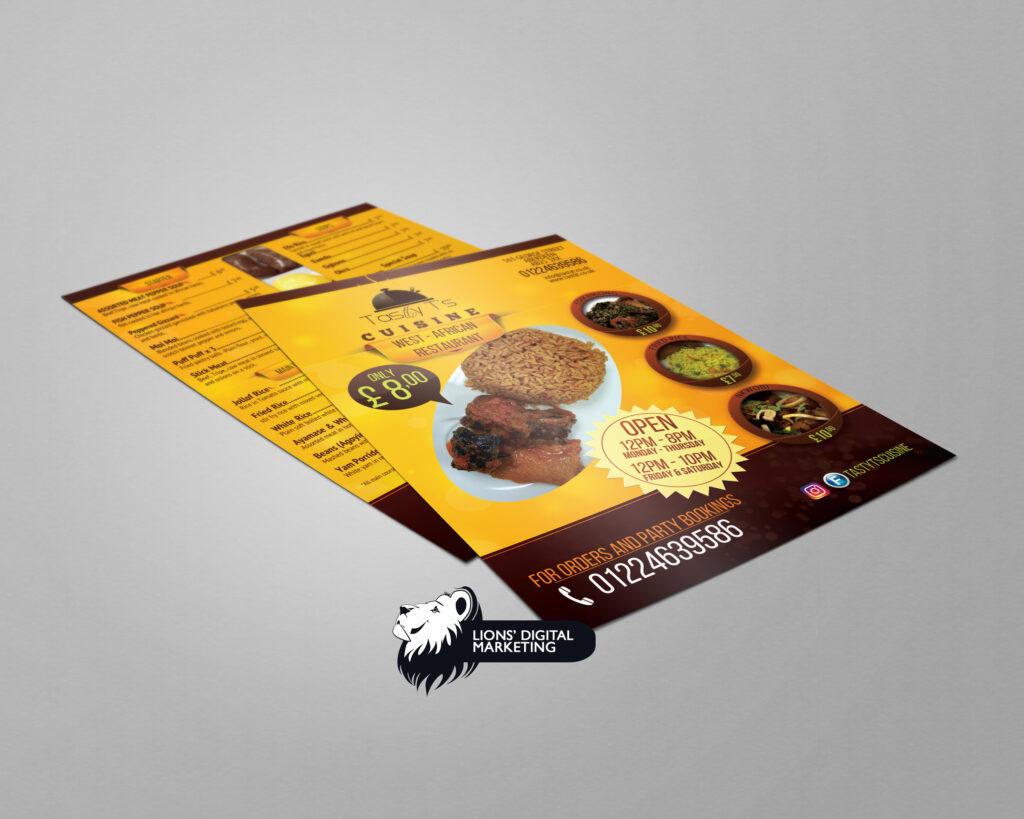 Flyer menu design for Tasty