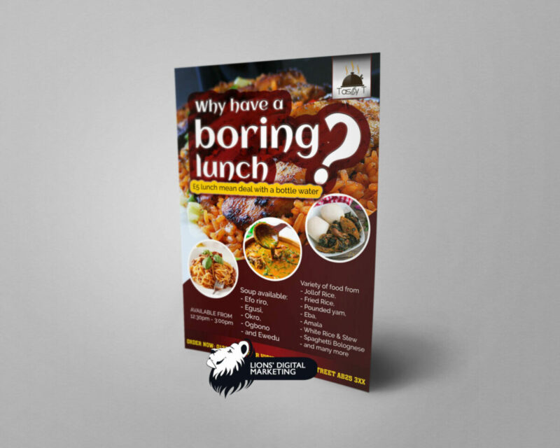 flyer design and print Aberdeen for Tasty T