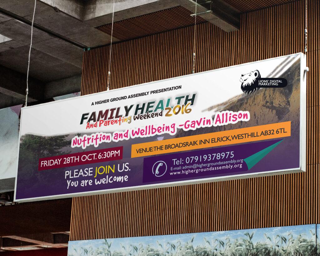 Wide banner graphic design Aberdeen for Higher ground