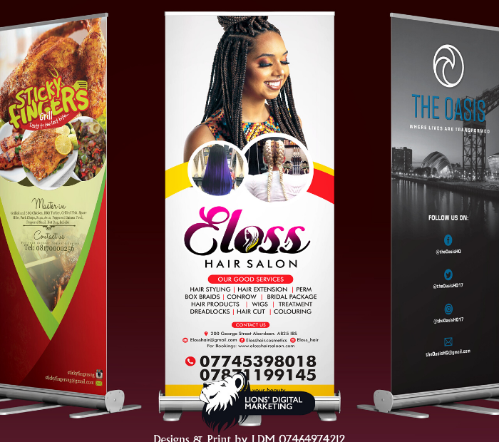 Roll up banners graphic design and print Aberdeen